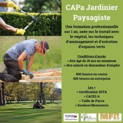 Ouverture de la formation en CAPa Jardinier Paysagiste en septembre 2021
