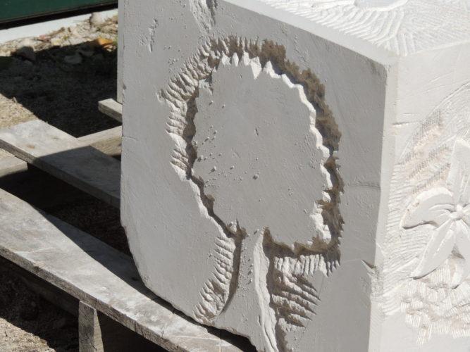 Arbre taillé dans la pierre par nos élèves