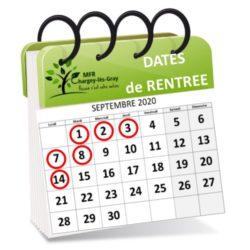 Dates de rentrée 2020