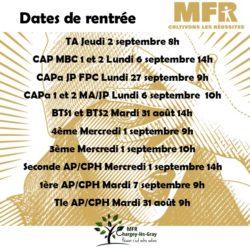 Dates de rentrée
